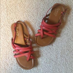 Franco Sarto Sandals Red 6.5 Leather Red Strappy